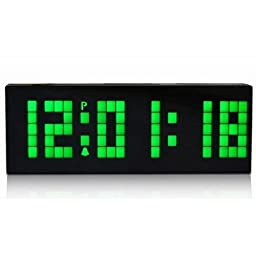 Digital Large Big Number Jumbo LED snooze wall desk Alarm clock count down timer with calendar -Green Light