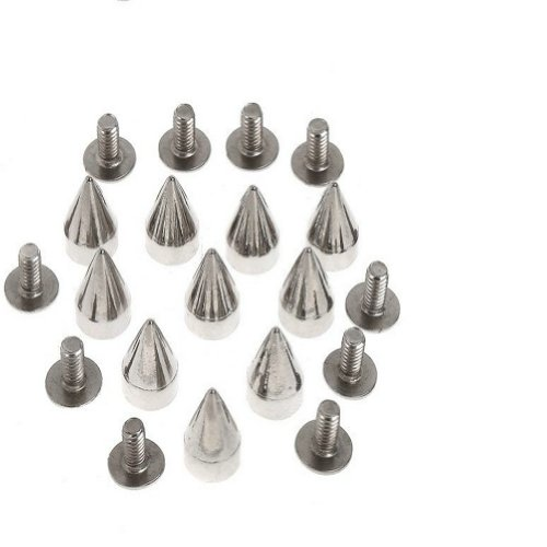 Xfy Nailheads 9.5MM Silver Cone Spikes Screwback Studs Leathercraft DIY Goth Punk Steel Spots Bright Nickel Finish 100 pcs
