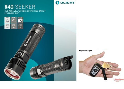 Olight R40 Seeker Usb Ac Rechargeable 1100 Lumen Cree Xm-L2 Led Flashlight With Ac Charger, 4000Mah 26650 Battery And Powertac Keychain Light