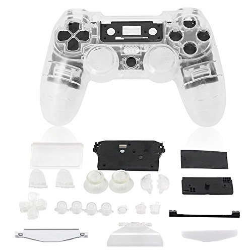 Super Custom Replacement Wireless Game Controller Shell Case Cover Kit for Sony PS4 - Includes Button Set, Clear (Custom Controller Covers compare prices)