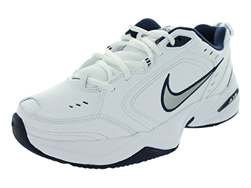Mens Nike Air Monarch IV Training Shoe White/Metallic Silver/Midnight Navy Size 11 (Nike Air Shoes Men compare prices)