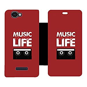Skintice Designer Flip Cover with hi-res printed Vinyl sticker wrap-around for Micromax Canvas 2 Colors A120