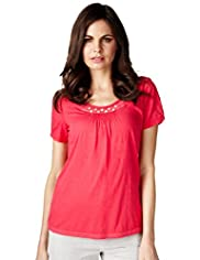 Per Una Pure Cotton Lace Button Top