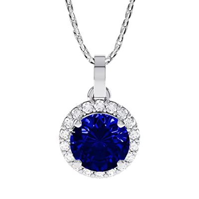 1.35ct Sapphire and Diamond White Gold Halo Pendant