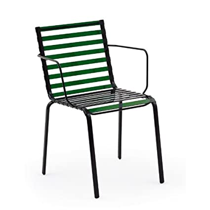 Striped Garden Armchair green/dark green/steel