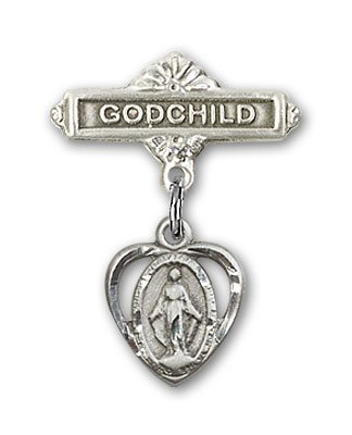 Sterling Silver Baby Badge with Miraculous Charm and Godchild Badge Pin