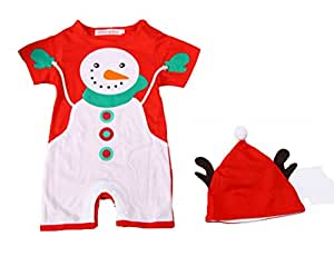 Baby Toddler Holiday Snowman Costume Romper Onesie + Hat 2-pc Set