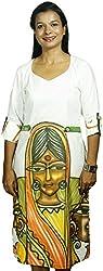 BAJA Women's Regular Fit Dress (Eyebeauty, White, S)