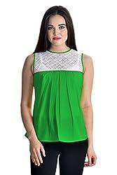 Femninora Green Color Casual Half Net Top