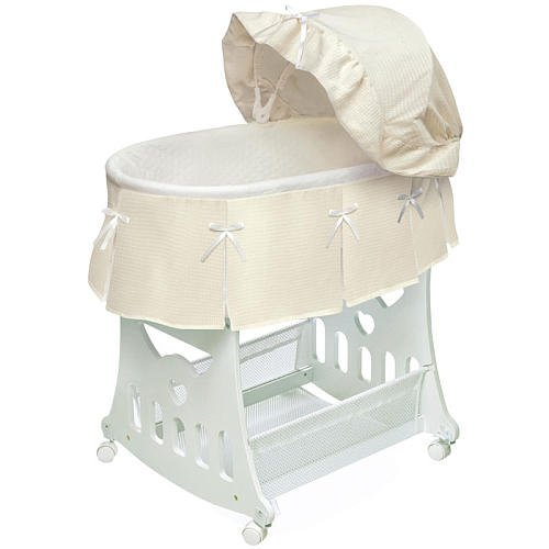 Badger Basket Waffle Pleated Portable Bassinet N Cradle With Toybox Base Ecru back-852161