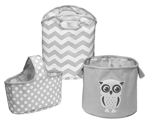 Delta Children 3 Piece Canvas Nursery Storage Set, Grey Owl (Baby Storage Bins compare prices)