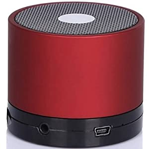 CHEERLINK Mini Lightweight Portable Premium Sound Wireless Bluetooth Speaker with Rechargeable Battery - Rubber Black, Enhanced Bass, Support Micro SD Card, Free 3.5mm AUX Line-in Cable -Black (Red) by CHEERLINK