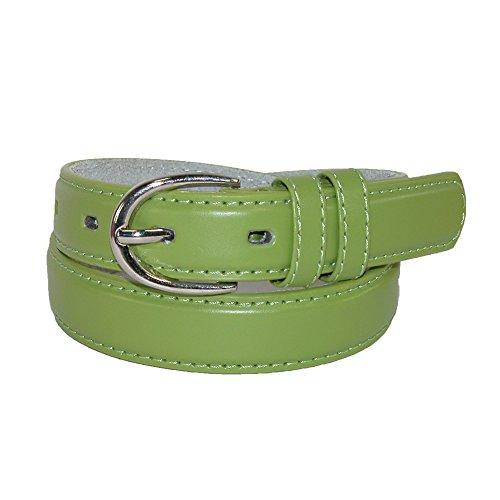 CTM® Girls Leather 3/4 inch Basic Dress Belt, Xlarge, Green