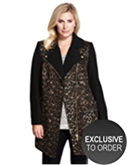 Plus Animal Print Biker Coat with Wool