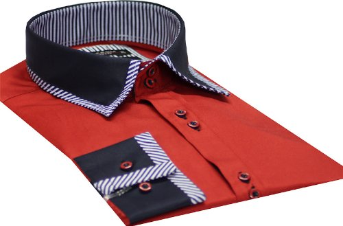 Italian Design Men's Formal Casual Shirts Designed Contrast Collar Red Colour