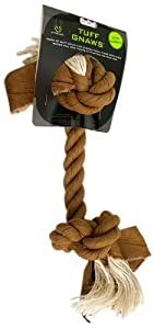 Hyper Pet Tuff Gnaws Denim and Sisal 2-Knot Rope Bone for Dogs, Tan, X-Small