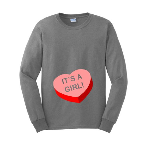 It'S A Girl Short Sleeve Maternity Themed Long Sleeve T-Shirt Medium Sport Grey front-937068