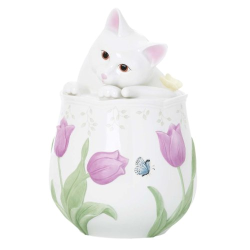 Lenox Butterfly Meadow Figural Kitten Cookie Jar