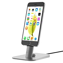 iphone dock,INI Adjustable Desktop Charger Stand for iPhone 6S/SE /iPad mini/iPad Air,Compatible With iPhone Orginal lighthing cable-Cables not included (Grey)