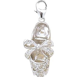 14K White Gold Diamond Ballet Slipper Charm