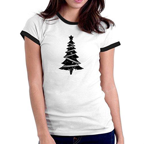 Maglietta Ringer da donna Distressed christmas tree