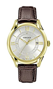 Versace Men's 'APOLLO' Swiss Quartz Stainless Steel and Leather Casual Watch, Color:Brown (Model: V10030015)