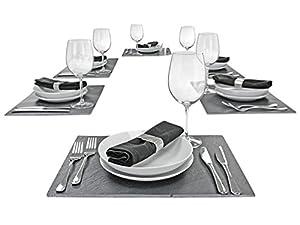 Schiefer Platten Set 6-tlg 40 x 30 cm Platz Tisch- Set Untersetzer Servierplatte