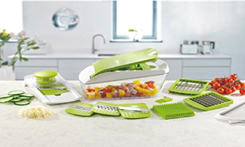 Chop 'n' Slice Pro - Mandolin & Chopper with Storage Lid - 7 Interchangeable Blades for Chopping, Slicing, Cutting, Dicing, Grating & Julienne Slicing - Perpetual Peeler and eBook included