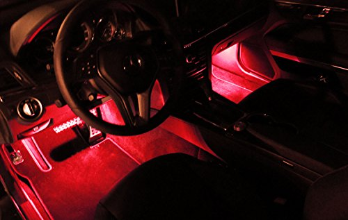 Ijdmtoy 4pc Sound Active Bright Red Led Car Interior