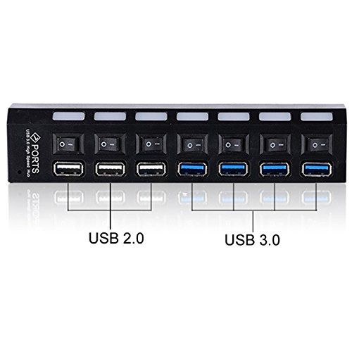 Eastvita® Usb 3.0 Hub 7 Port Adapter Led Indicator For Pc Computer Laptop 5Gb/S With Cable