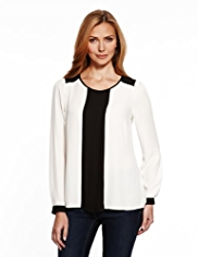 M&S Collection Colour Block Pleated Blouse