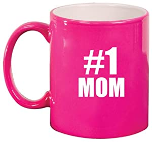 Amazon.com: #1 Mom Ceramic Coffee Tea Mug Cup Hot Pink Gift for Mom