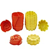Chefaith 24 Pcs Reusable Silicone Baking Cups, Cupcake Liners, Muffin Cups [12 Sunflower & 12 Rose Shaped Mini Cups, Yellow / Orange] - Non-Stick, Heat Resistant (Up to 480°F) Fun Mini Baking Molds