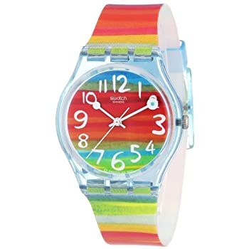 Set A Shopping Price Drop Alert For Swatch Women's GS124 Quartz Rainbow Dial Plastic Watch