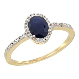 14K Yellow Gold Diamond Natural Blue Sapphire Ring Oval 7×5 mm, size 6.5