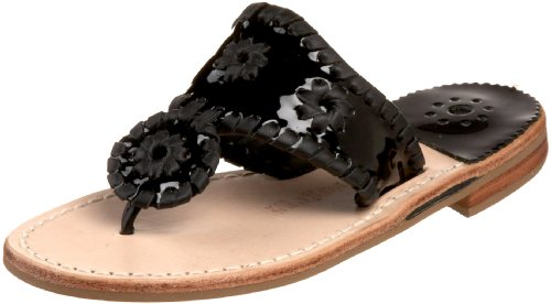 Jack Rogers Key West Thong Sandal (Toddler/Little Kid/Big Kid),Black Patent,9 M US Toddler