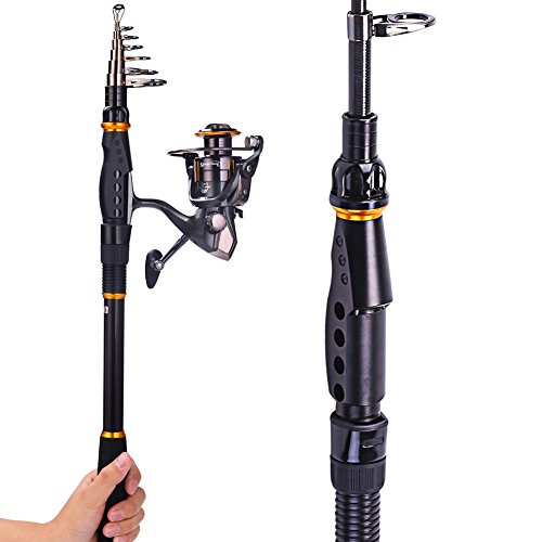 Sougayilang Fishing Rod Reel Combos Carbon Telescopic Fishing Rod Pole with Spinning Reel Line Lures Accessories Combo Sea Saltwater Freshwater Fishing Rod Kit (Rod+ Reel, 2.1M 6.89Ft Rod+WQ3000 Reel) (Portable Spinning Wheel compare prices)
