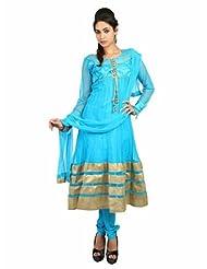 Fashiontra Women's Net Anarkali Suit (JUL22104_Light Blue_Large)