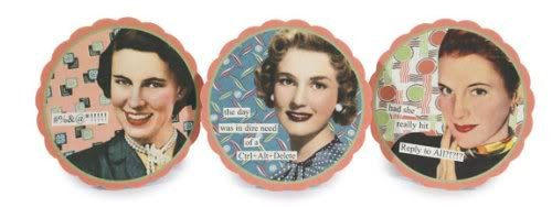 Anne Taintor 4503 4-Inch Round Coaster Set, Curse