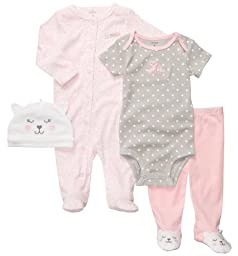 Carters 4-pc. Kitty Cuddle Me Layette Set LIGHT PINK 9 Mo