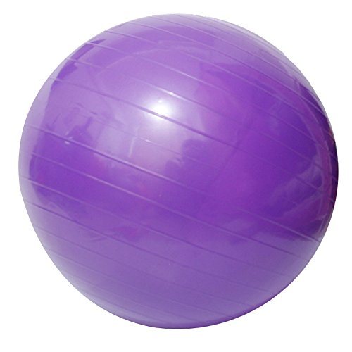 Yoga Fitness Ball Anti-Burst and Slip Resistant Ball with Pump (purple, M: Diameter:55cm/21.6