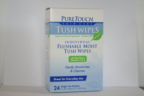 Puretouch Tush Wipes Organics For Adults Individual Flushable Moist Wipes Bulk Of 350 Single-Use-Packets