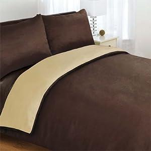 Linens Limited Plain Reversible Duvet Cover Set, Chocolate/Latte, Double