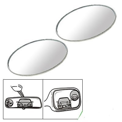 2 Pcs Round Stick-On Convex Rearview Blind Spot Mirror Set front-1056064