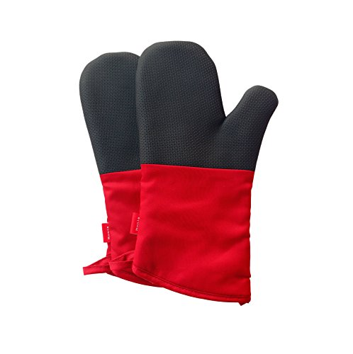 Honla 13-Inch Long Neoprene Oven Mitts/Gloves,Quilted Cotton&Thick Cloth Lining,Red-Black,1 Pair Potholders