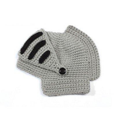 ローマ騎士風ニット帽 男女兼ナイトニットキャップ 騎士風ヘルメット型帽子 2色(グレー)