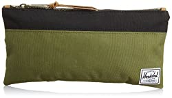 Herschel Supply Co. Grace Leather Clutch, Army/Black, One Size