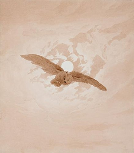 High Quality Polyster Canvas ,the Best Price Art Decorative Prints On Canvas Of Oil Painting 'Owl Flying Against A Moonlit Sky,1837 By Caspar David Friedrich', 24x27 Inch / 61x70 Cm Is Best For Bar Gallery Art And Home Decor And Gifts