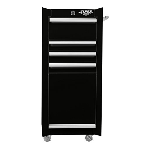 Viper Tool Storage V1804BLR 16-Inch 4-Drawer 18G Steel Rolling Tool / Salon Cart, with Bulk Storage Panel, Black