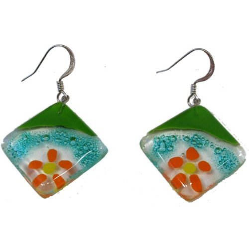 Rhombus Fused Glass Earrings Floating Flower Design Chile
